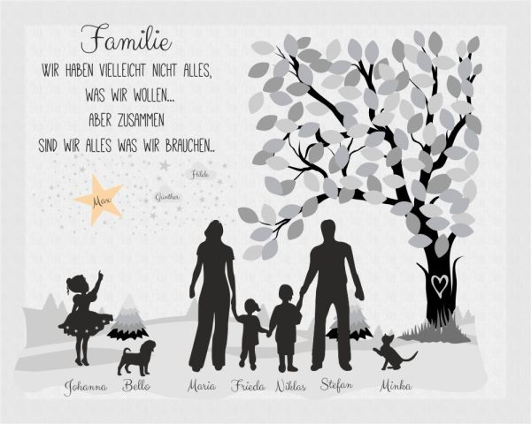 Individuelle Leinwand Familie Familiensilhouette
