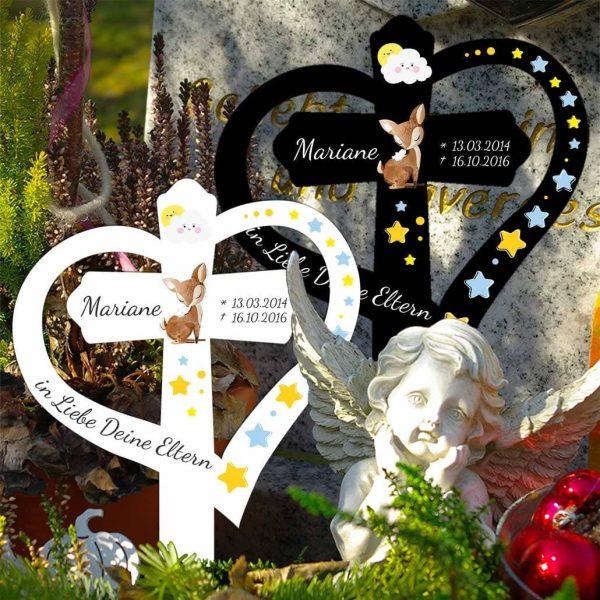 Grabkreuz mit Herz für Sternenkind Rehkitz