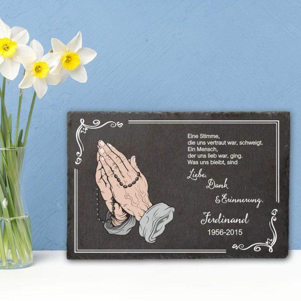 Gedenktafel Schieferplatte Betende Hände