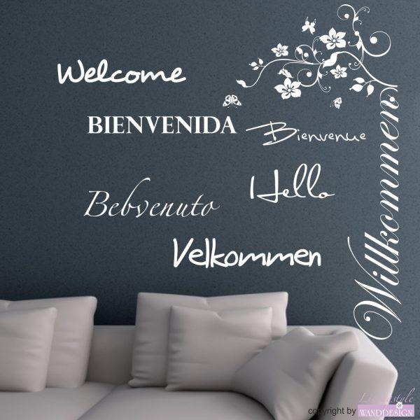 Wandtattoo Willkommen in 7 Sprachen