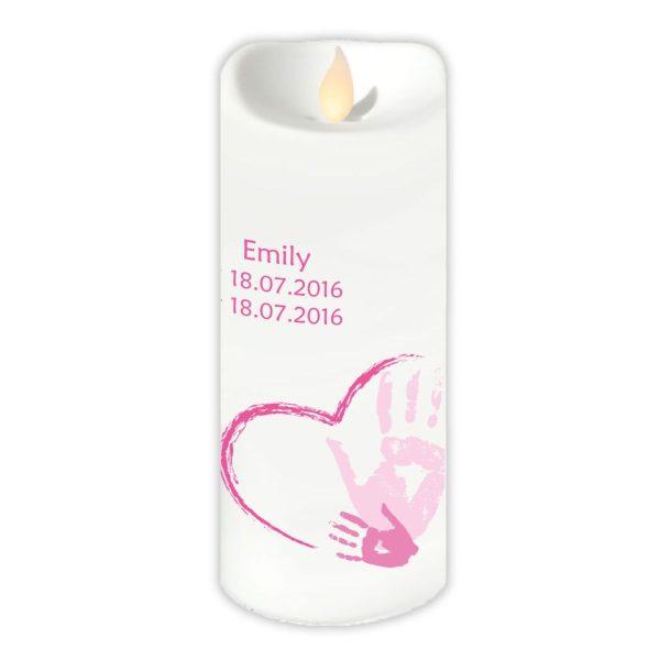 LED Kerze Twinkle Sternenkind Handabdruck in rosa