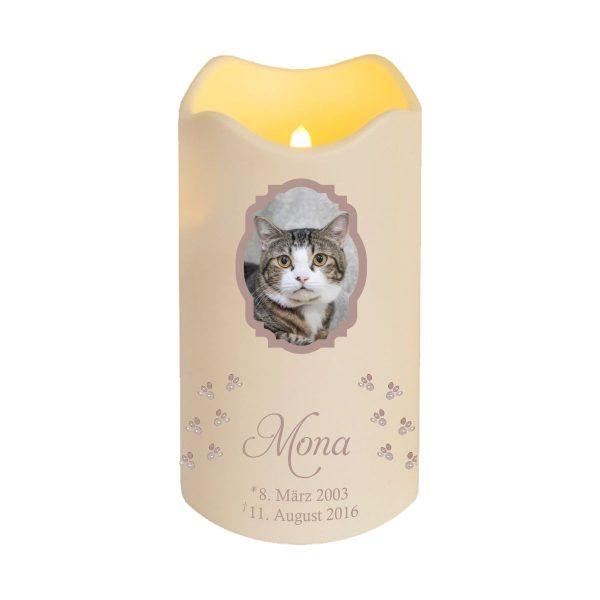 LED Kerze Trauerkerze aus Kunststoff für Tiere mit Foto im Rahmen und Pfoten