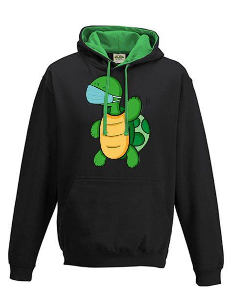 Kapuzenpullover Hoodie grün schwarz winkende Schildkröte mit Mundschutz