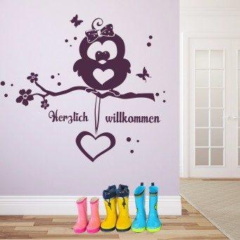 Wandtattoo Eule Emma - Herzlich willkommen