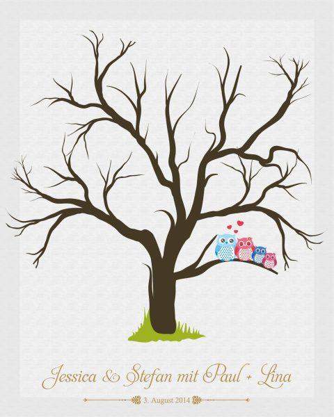 Hochzeitsleinwand Leinwand Fingerabdruckbaum Wedding Tree - Traufe mit 2 Kindern