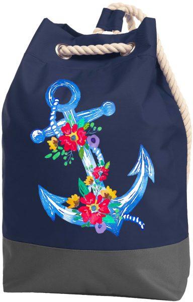 Rucksack Seesack Beutel mit Kordel Maritim Blumenanker