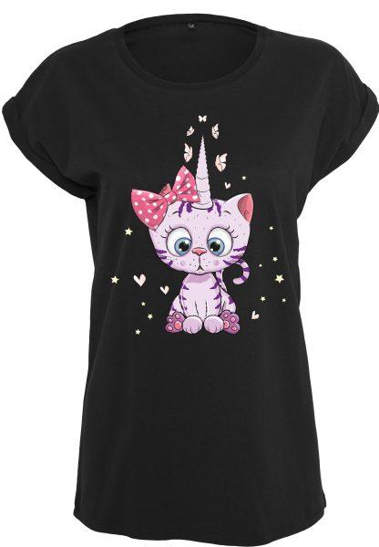 Damen T-Shirt Extended Shoulder Tee Einhorn Kittykorn Katze Cat Caticorn lila
