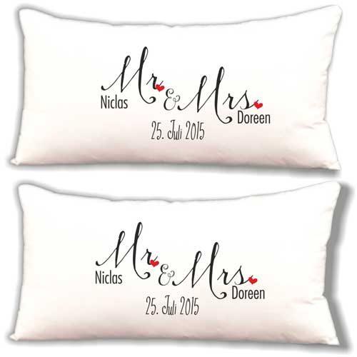 Dekokissen Kissen Set Mr. & Mrs. mit Namen