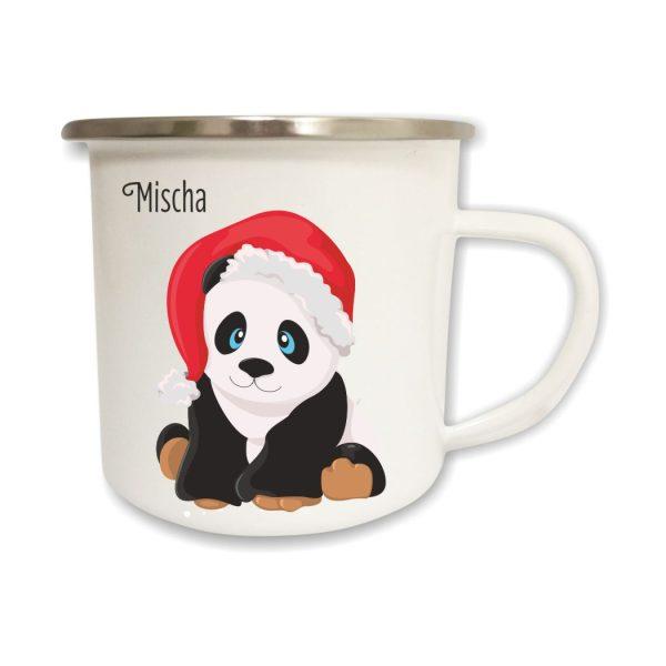 Emailletasse Weihnachten Panda mit Name
