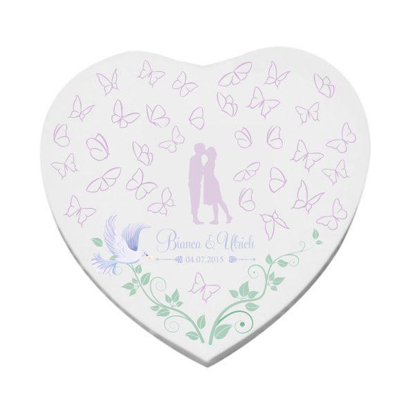 Herzleinwand Hochzeitsleinwand Leinwand Wedding Gästebuch Schmetterlinge