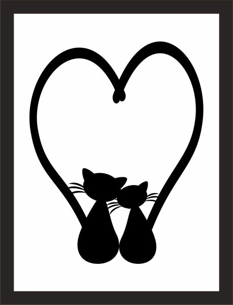 Kunstdruck Katzenherz