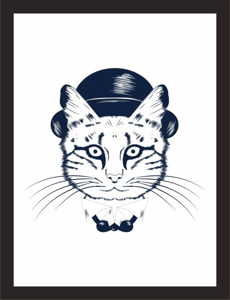 Kunstdruck Katze mit Hut