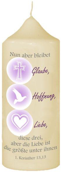 Kerze zur Konfirmation mit Namen und Datum (Motiv 3)