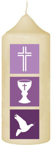Kerze zur Konfirmation mit Namen und Datum (Motiv 7)