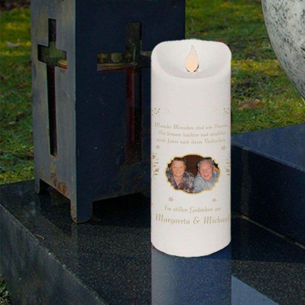 LED Kerze Twinkle Trauerkerze mit Foto Engel