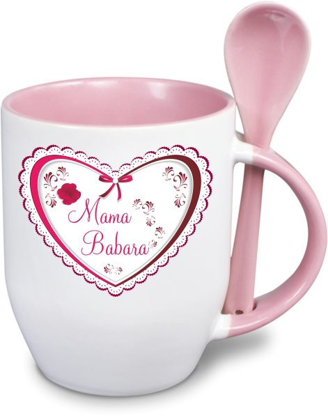Löffeltasse - Muttertag - Herz mit Rose