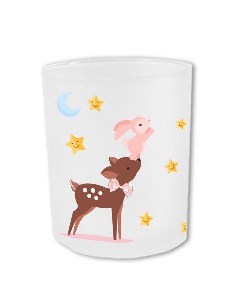 Teelichthalter fürs Sternenkind Reh mit Hase in rosa