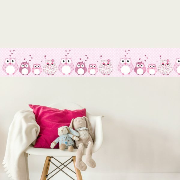 Vlies Bordüre selbstklebend fürs Kinderzimmer Patchwork rosa