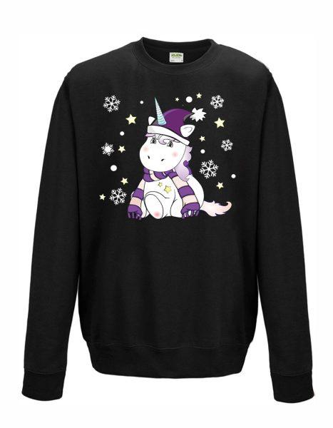 Sweatshirt Unisex Winter Weihnachten Einhorn Cutie lila