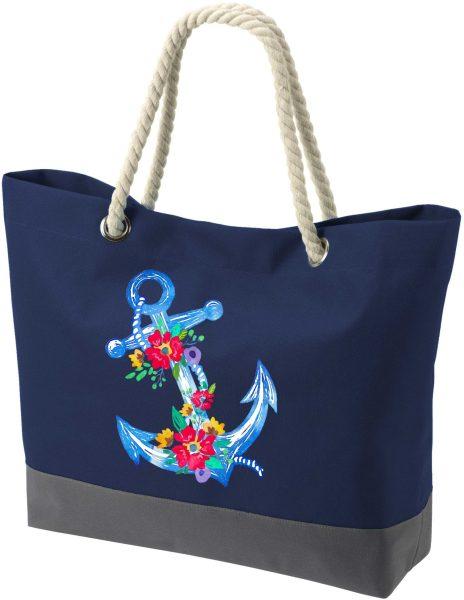 Shopper Bag Einkaufstasche Maritim Nautical Blumenanker