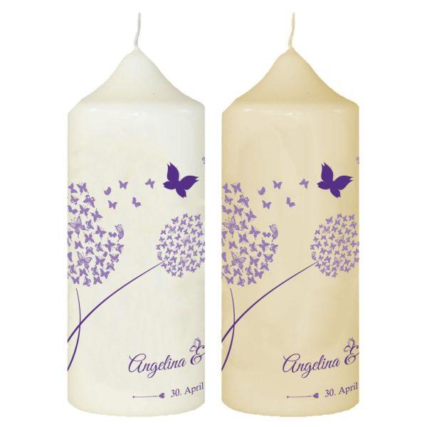 Hochzeitskerze Traukerze mit Namen und Datum Lila Pusteblume mit Schmetterlinge