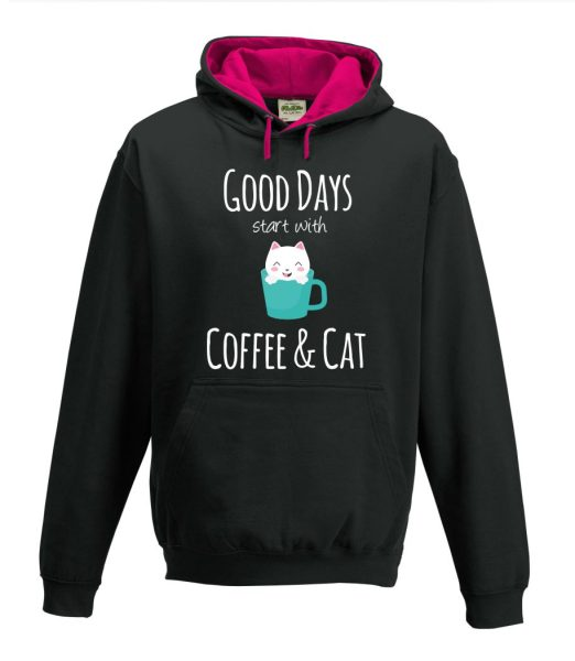 Kapuzenpullover Pullover Hoodie Good Days start with Coffee & Cat