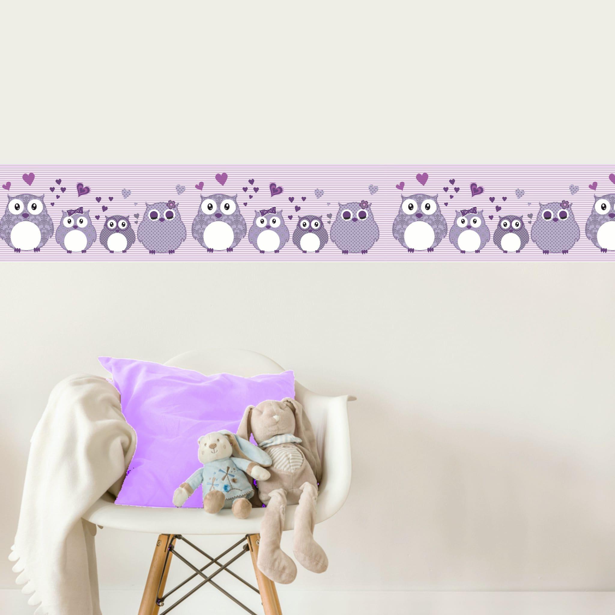 Vlies Bordüre selbstklebend fürs Kinderzimmer Patchwork lila