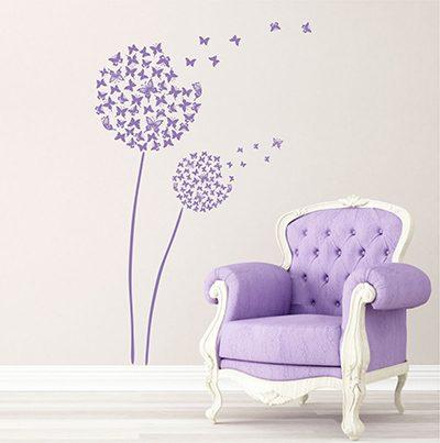Wandtattoo Pusteblume Schmetterling