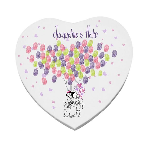 Herzleinwand Hochzeitsleinwand Leinwand Wedding Gästebuch Luftballons Fingerprint