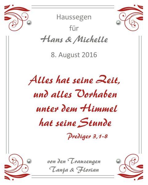 Haussegen zur Hochzeit Geschenk Leinwand 24 x 30 cm Rote Kringel