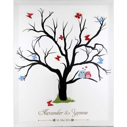 Hochzeitsleinwand Leinwand Fingerabdruckbaum Wedding Tree Gästebuch Eulen