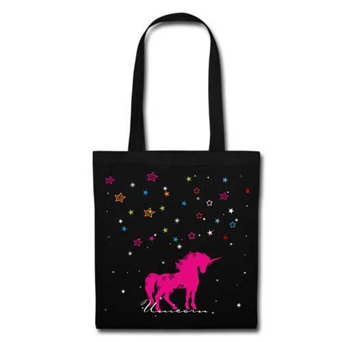 Stofftasche schwarz Unicorn