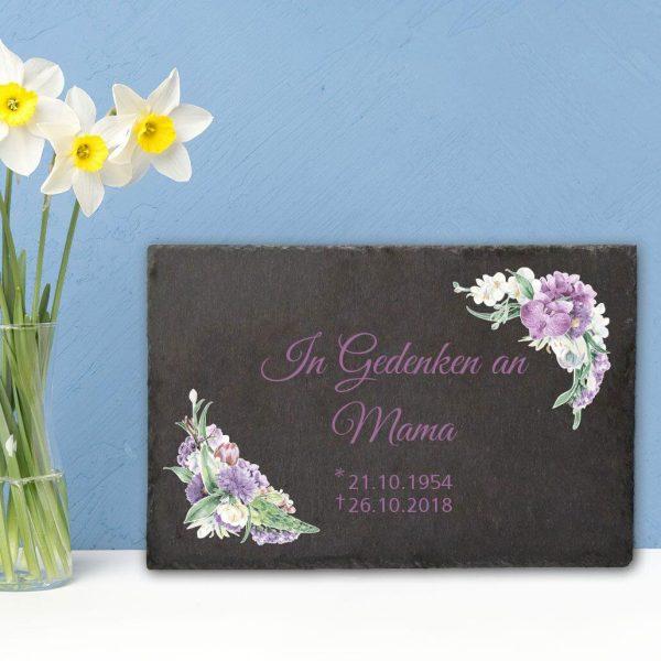 Gedenktafel Schieferplatte Orchidee