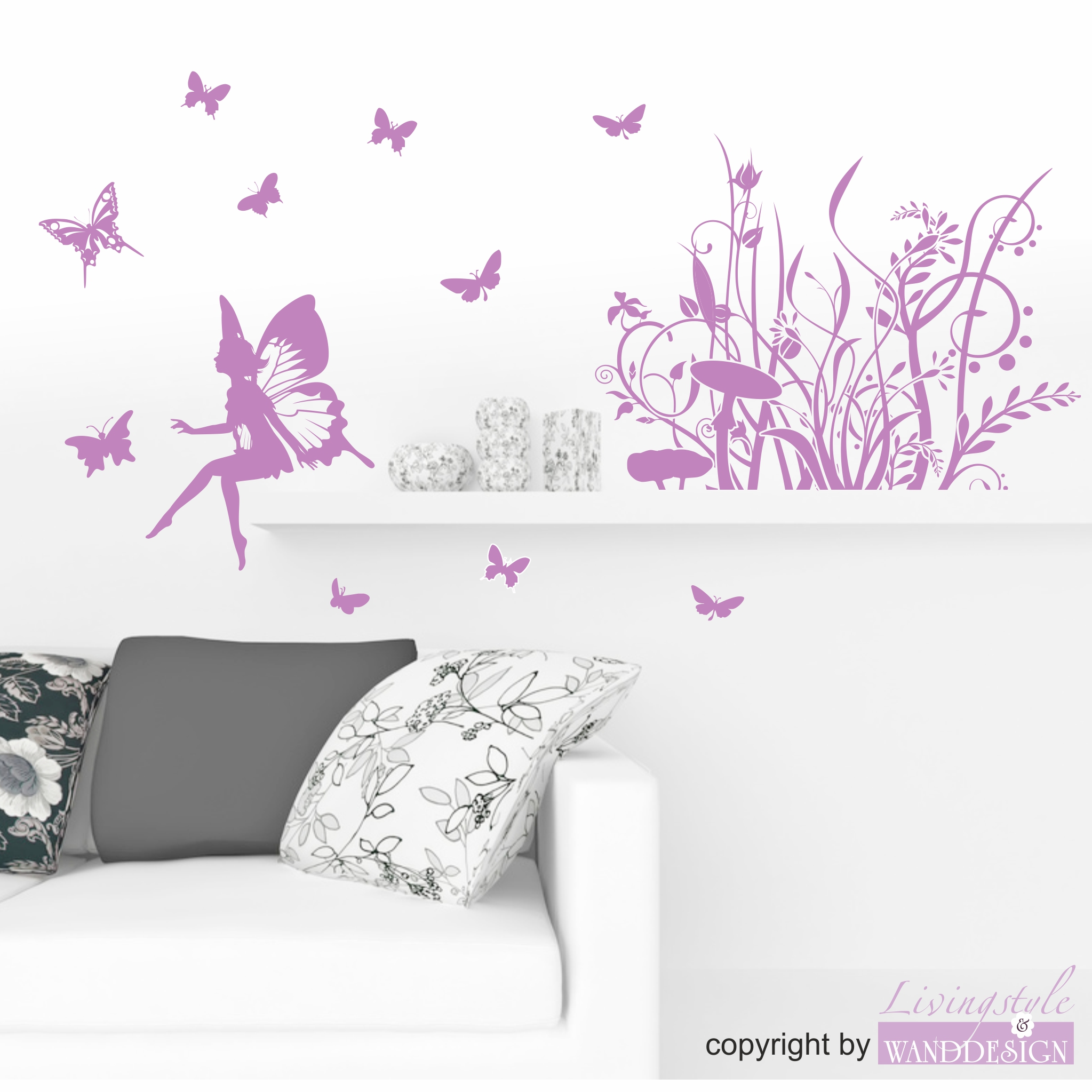 wandtattoo kleiner elfenwald mit elfe zauberhafte elfenwelt wandtattoos livingstyle. Black Bedroom Furniture Sets. Home Design Ideas