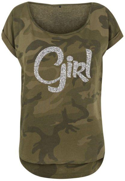 Damen Camouflage T-Shirt Glitzer Girl