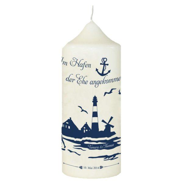 Hochzeitskerze Traukerze mit Namen und Datum Maritim Leuchtturm