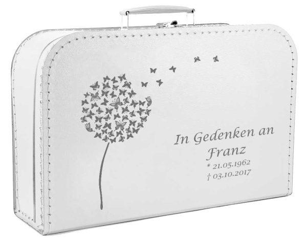 Koffer zum Gedenken mit Pusteblume