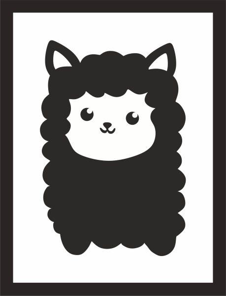 Kunstdruck Alpaka schwarz