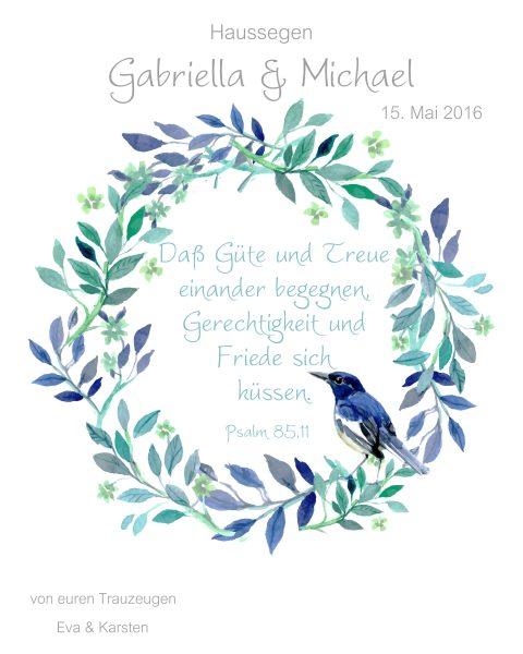Haussegen zur Hochzeit Geschenk Leinwand 24 x 30 cm Motiv 7