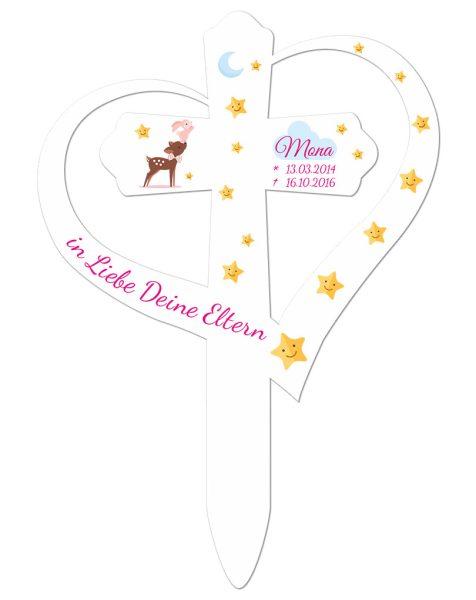 Grabkreuz mit Herz für Sternenkind Reh mit Hase in Rosa