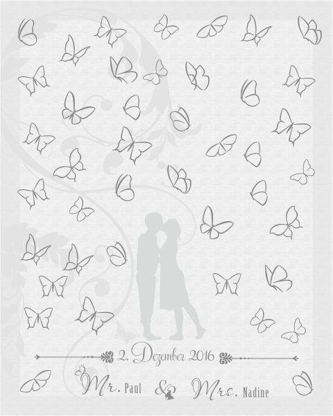 Hochzeitsleinwand Leinwand Fingerabdruckbaum Wedding Tree Gästebuch Ranke silber