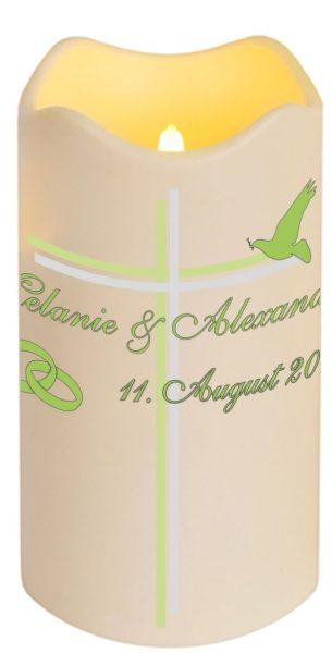 LED Kerze Kunststoff 18cm flackernd Hochzeitskerze Traukerze mit Namen und Datum Motiv 3