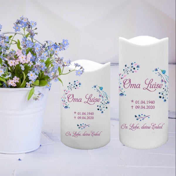 LED Kunststoff Kerze Weiß Trauerkerze Blüten