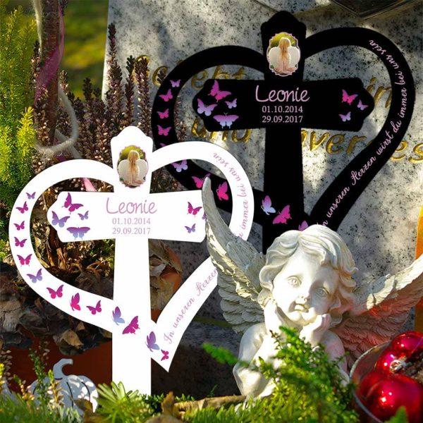 Grabkreuz mit Herz für Sternenkind Schmetterlinge