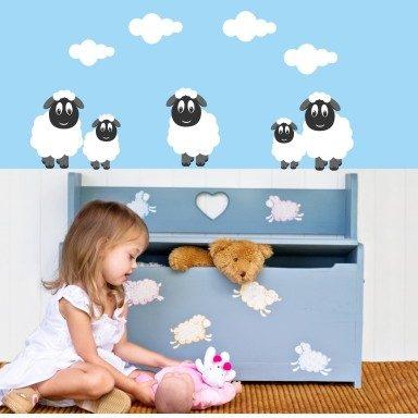 Wandtattoo lustige Schafe 5 Schafe und 4 Wolken