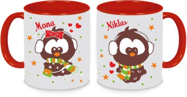 Tassen Twinset in rot mit Name und Lotta & Emil in Love