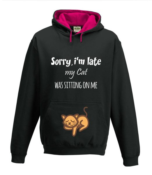 Kapuzenpullover Pullover Hoodie Sorry, I'm late my Cat was sitting on me
