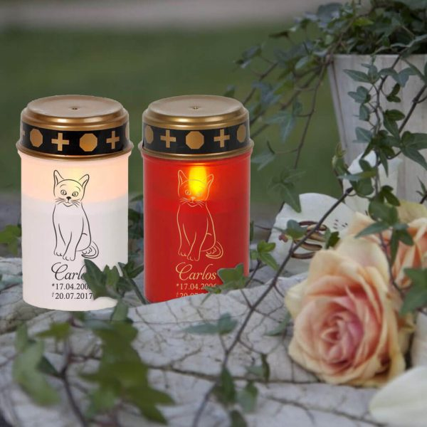 LED Grablicht Kerze Klein für Tiere Katze Silhouette