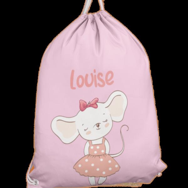 Turnbeutel aus Baumwolle in Rosa mit Name und Mäusedame