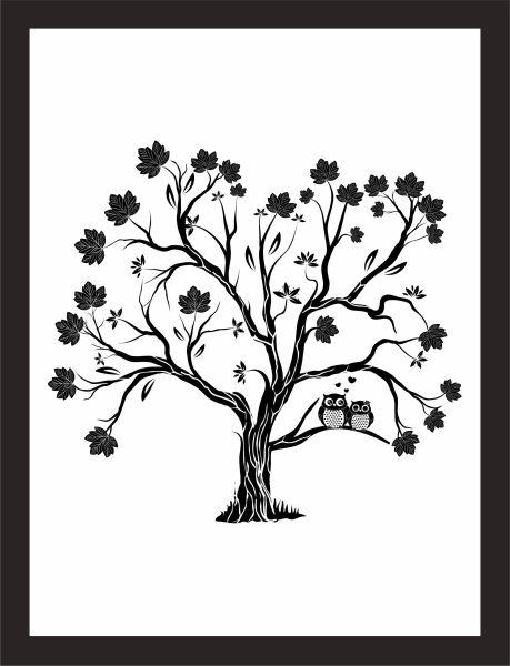 Kunstdruck Eulenbaum